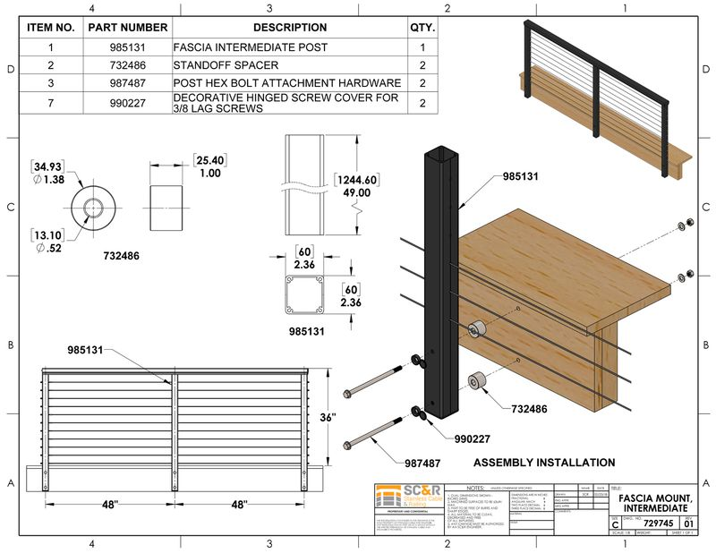 49 Inch Tall Powder Coat Bronze Undrilled for Cable Deck Railing Fence Systems Cut to Height Aluminum Deck Top Mount Stair Terminal End Post Without Holes