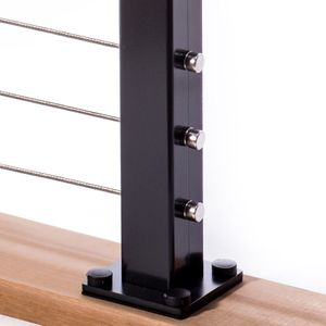 Aluminum cable railing deck mount terminal post with base plate