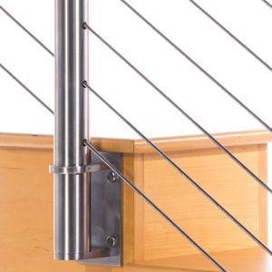 Round stainless steel cable railing post with cable infill
