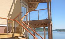 Round Stainless Steel Posts w/ Wood Rail - Lake Norman, NC