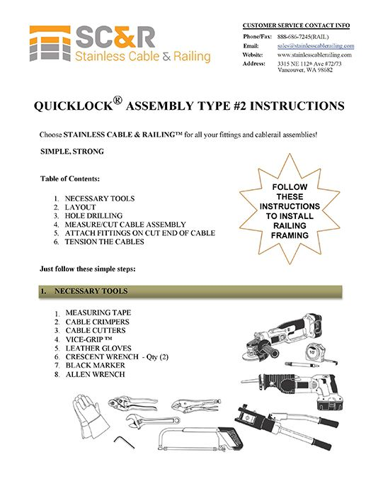 Swageless Type 2 - Assembly Instructions