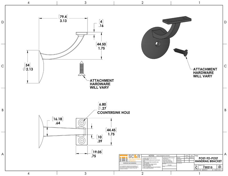 Wall Mount Brackets for Aluminum Post-To-Post Handrail