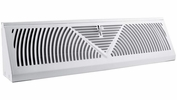 """Accord ABBBWH18  White Metal Baseboard Register with Sunburst Design for 18"""" Duct Opening"""