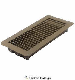 "Accord ABFRBR410  Brown Finished Metal Floor Register with Louvered Design for 4"" x 10"" Duct Opening"