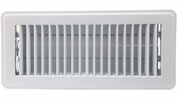 """Accord ABFRWH410  White Finished Metal Floor Register with Louvered Design for 4"""" x 10"""" Duct Opening"""