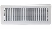 """Accord ABFRWH412  White Finished Metal Floor Register with Louvered Design for 4"""" x 12"""" Duct Opening"""