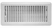 """Accord ABFRWH48  White Finished Metal Floor Register with Louvered Design for 4"""" x 8"""" Duct Opening"""