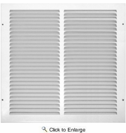 """Accord ABRGWH1414  White Return Air Grille with 1/2"""" Spaced Fins for 14"""" x 14"""" Duct Opening"""