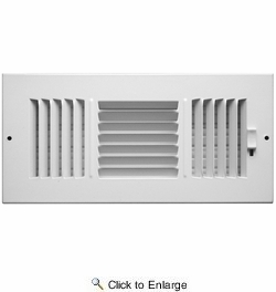 "Accord ABSWWH3104  White Sidewall/Ceiling Register with 3-Way Air Deflection Design for 10"" x 4"" Duct Opening"