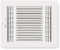 "Accord ABSWWH3106  White Sidewall/Ceiling Register with 3-Way Air Deflection Design for 10"" x 6"" Duct Opening"