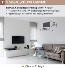 """Accord ABSWWH3126  White Sidewall/Ceiling Register with 3-Way Air Deflection Design for 12"""" x 6"""" Duct Opening"""