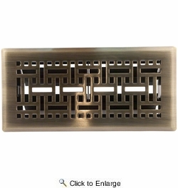 "Accord AMFRABB410  Antique Brass Finished Metal Faceplate Floor Register with Wicker Design for 4"" x 10"" Duct Opening"