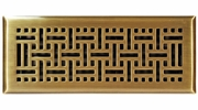 "Accord AMFRABB412  Antique Brass Finished Metal Faceplate Floor Register with Wicker Design for 4"" x 12"" Duct Opening"