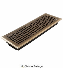 """Accord AMFRABB414  Antique Brass Finished Metal Faceplate Floor Register with Wicker Design for 4"""" x 14"""" Duct Opening"""