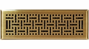 "Accord AMFRABB414  Antique Brass Finished Metal Faceplate Floor Register with Wicker Design for 4"" x 14"" Duct Opening"