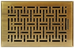 "Accord AMFRABB610  Antique Brass Finished Metal Faceplate Floor Register with Wicker Design for 6"" x 10"" Duct Opening"