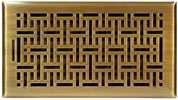 "Accord AMFRABB612  Antique Brass Finished Metal Faceplate Floor Register with Wicker Design for 6"" x 12"" Duct Opening"