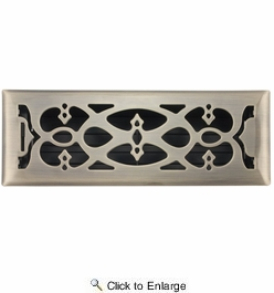 """Accord AMFRABV412  Antique Brass Finished Metal Faceplate Floor Register with Victorian Design for 4"""" x 12"""" Duct Opening"""