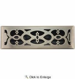 """Accord AMFRABV414  Antique Brass Finished Metal Faceplate Floor Register with Victorian Design for 4"""" x 14"""" Duct Opening"""