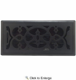 """Accord AMFRBLV410  Matte Black Finished Metal Faceplate Floor Register with Victorian Design for 4"""" x 10"""" Duct Opening"""
