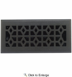 """Accord AMFRPWM410  Cast Iron Faceplate Metal Floor Register with Marquis Design for 4"""" x 10"""" Duct Opening"""
