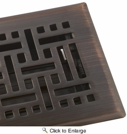 """Accord AMFRRBB410  Oil-Rubbed Bronze Finished Metal Faceplate Floor Register with Wicker Design for 4"""" x 10"""" Duct Opening"""
