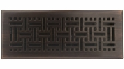 "Accord AMFRRBB412  Oil-Rubbed Bronze Finished Metal Faceplate Floor Register with Wicker Design for 4"" x 12"" Duct Opening"
