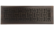 "Accord AMFRRBB414  Oil-Rubbed Bronze Finished Metal Faceplate Floor Register with Wicker Design for 4"" x 14"" Duct Opening"