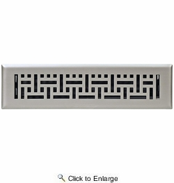 """Accord AMFRSNB212  Satin Nickel Finished Metal Faceplate Floor Register with Wicker Design for 2"""" x 12"""" Duct Opening"""