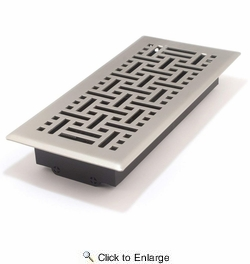 "Accord AMFRSNB410  Satin Nickel Finished Metal Faceplate Floor Register with Wicker Design for 4"" x 10"" Duct Opening"