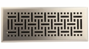 "Accord AMFRSNB412  Satin Nickel Finished Metal Faceplate Floor Register with Wicker Design for 4"" x 12"" Duct Opening"