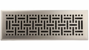 "Accord AMFRSNB414  Satin Nickel Finished Metal Faceplate Floor Register with Wicker Design for 4"" x 14"" Duct Opening"