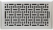 "Accord AMFRSNB612  Satin Nickel Finished Metal Faceplate Floor Register with Wicker Design for 6"" x 12"" Duct Opening"