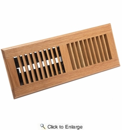 """Accord AOFROLL412  Light Oak Finish Floor Register with Louvered Design for 4"""" x 12"""" Duct Opening"""
