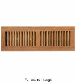 "Accord AOFROLL414  Light Oak Finish Floor Register with Louvered Design for 4"" x 14"" Duct Opening"