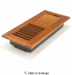 """Accord AOFROML410  Medium Oak Finish Floor Register with Louvered Design for 4"""" x 10"""" Duct Opening"""