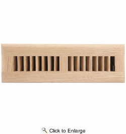 "Accord AOFROUL210  Unfinished Oak Floor Register with Louvered Design for 2"" x 10"" Duct Opening"