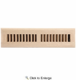 "Accord AOFROUL212  Unfinished Oak Floor Register with Louvered Design for 2"" x 12"" Duct Opening"