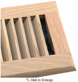 """Accord AOFROUL412  Unfinished Oak Floor Register with Louvered Design for 4"""" x 12"""" Duct Opening"""