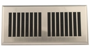 """Accord APFRSNL410  Satin Nickel Finish Plastic Floor Register with Louvered Design for 4"""" x 10"""" Duct Opening"""