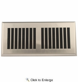 "Accord APFRSNL410  Satin Nickel Finish Plastic Floor Register with Louvered Design for 4"" x 10"" Duct Opening"