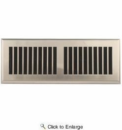 """Accord APFRSNL412  Satin Nickel Finish Plastic Floor Register with Louvered Design for 4"""" x 12"""" Duct Opening"""