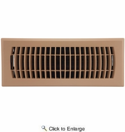 "Accord APFRTPL412  Taupe Plastic Floor Register with Louvered Design for 4"" x 12"" Duct Opening"