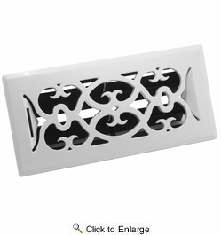 "Accord APFRWHV410  White Plastic Floor Register with Victorian Louvered Design for 4"" x 10"" Duct Opening"