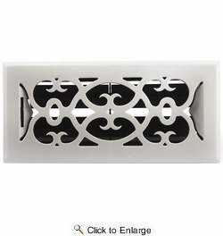 """Accord APFRWHV410  White Plastic Floor Register with Victorian Louvered Design for 4"""" x 10"""" Duct Opening"""