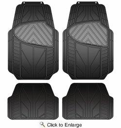 Armor All 79963  4 Piece Rubber All Season Floor Mat - Black- Grey