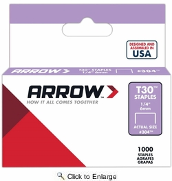 """Arrow Fastener 304  T30 1/4"""" Flat Crown Thin Wire Staples 1000 per Package"""