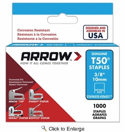 "Arrow Fastener 506SS1  T50 3/8"" Flat Crown Heavy Duty Stainless Steel Staples 1000 per Package"