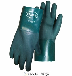 """Boss 1712  Ruff Grip PVC Gloves with 12"""" Gauntlet Cuff - Large"""