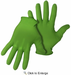 Boss 1UH0066N  6 mil Disposable Green Nitrile Gloves with Diamond Grip- 50 per Box - Large